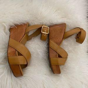 Tory Burch wedge wood sandals